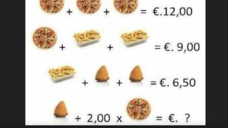 Matematica in pizzeria: trova il risultato finale