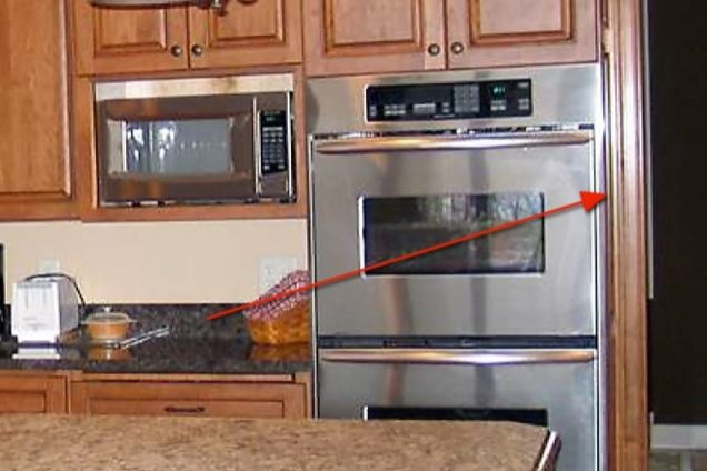 Remember to leave space between furniture and architectural details such as the door frame to the right of the oven.