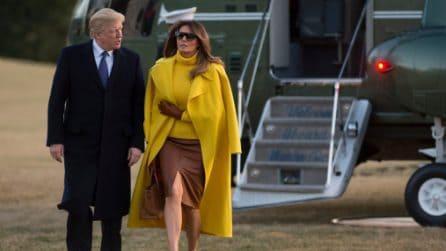 Melania Trump, il look giallo con i décolleté leopardati