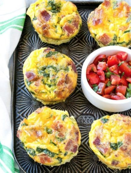 Salted muffin with eggs and bacon. Credit: https://www.dinneratthezoo.com/breakfast-egg-muffins/