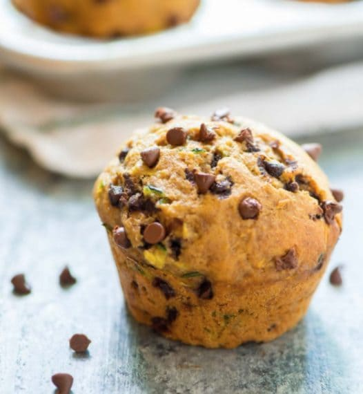 Muffin with zucchini, banana and chocolate chips. Credit: https://www.wellplated.com/healthy-zucchini-muffins/