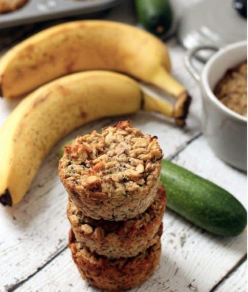 Oatmeal cups with banana and zucchini. Credit: https://www.hummusapien.com/banana-zucchini-oatmeal-cups/