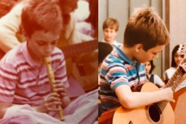 """""""Ho ritrovato queste mie foto degli anni '80. Non avevo molto, ma mi bastava la musica. Questo è stato il mio primo concerto, saggio di fine anno scolastico delle medie (Guardate il vestiario, sembriamo una comunità hippie)"""""""