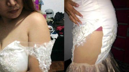 Il giorno prima delle nozze arriva l'abito: la sposa resta inorridita