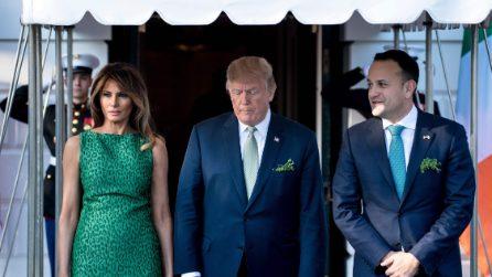 L'abito verde leopardato di Melania Trump