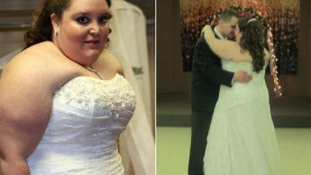 Resta scioccata guardando la foto di nozze e si mette a dieta: 3 anni dopo è irriconoscibile
