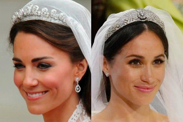 La tiara di Kate apparteneva alla regina Elisabetta II, quella di Meghan alla regina Maria