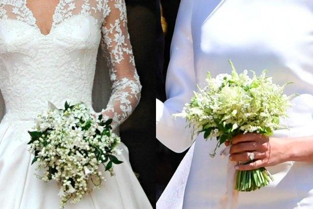 Il bouquet di Kate è stato realizzato con mughetti, garofani, giacinti ed edera, quello di Meghan conteneva i non ti scordar di me, i fiori preferiti di Lady D.