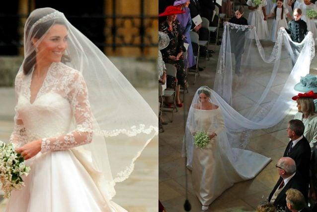 Il velo di Kate era fino a metà corpo, quello di Meghan era lungo 5 metri e decorato con dei ricami floreali