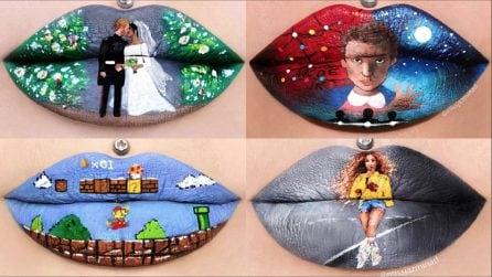 Non c'è bisogno della tela per realizzare opere d'arte: il suggestivo make-up sulle labbra