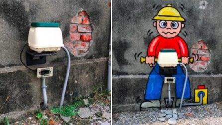 Gli elementi urbani prendono vita: l'arte di Tom Bob