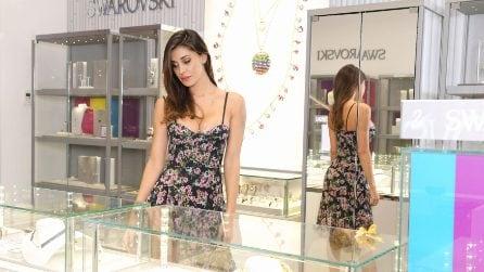 Belén Rodriguez con l'abito a fiori allo Swarovski Summer Party