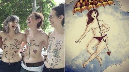Sopravvive al cancro, ma le asportano il seno: oggi incoraggia le donne con la sua arte
