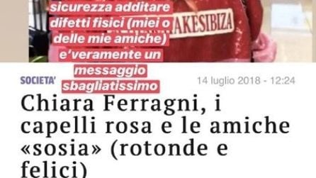 """Chiara Ferragni contro il Corriere, che ha definito le amiche """"rotonde e felici"""""""
