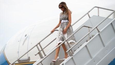 I décolleté bianchi per l'estate di Melania Trump