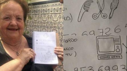 La nonna non sa leggere, così il nipote disegna i nomi sulla rubrica telefonica