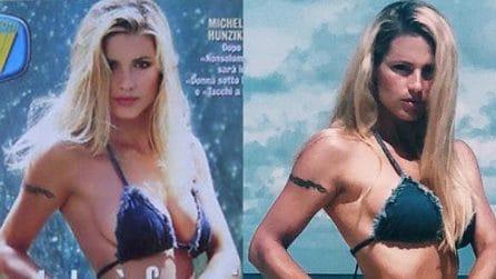 Michelle Hunziker rifà la copertina di Sorrisi e Canzoni 20 anni dopo