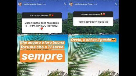 """Nicolò Ferrari: """"A Nilufar e Giordano auguro tanta fortuna per Temptation Island Vip"""""""