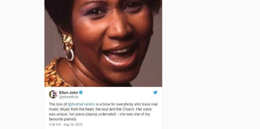 La perdita di Aretha Franklin è un duro colpo per tutti coloro che amano la musica vera: la musica dal cuore, dall'anima e dalla Chiesa. La sua voce era unica, la sua capacità di suonare il piano era sottovalutata. Era una dei miei pianisti preferiti.
