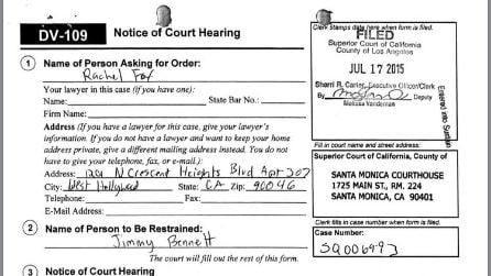 La denuncia per stalking di Rachel Fox a Jimmy Bennett