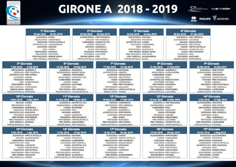 Calendario Serie C.Serie C 2018 2019 Calendario Dei Gironi A B C