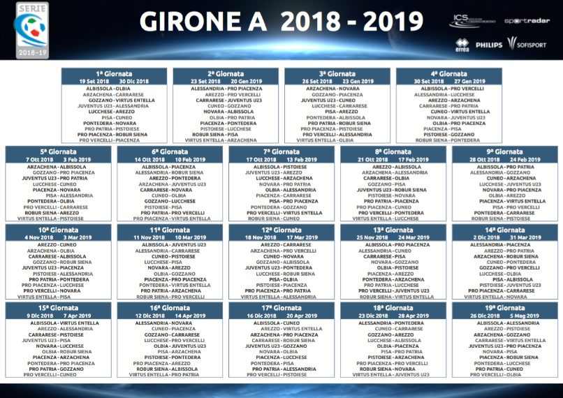 Calendario 15 Giornata Serie A.Serie C 2018 2019 Calendario Dei Gironi A B C