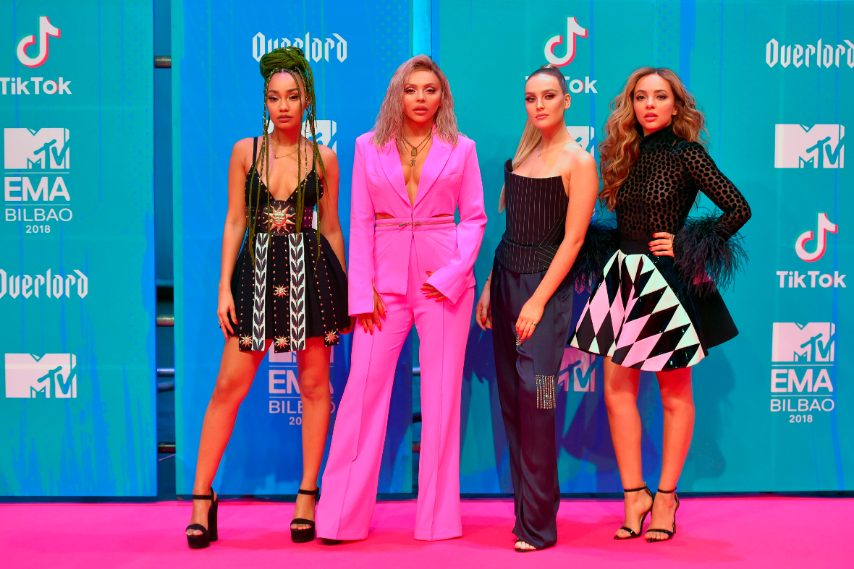 Leigh-Anne Pinnock in Fausto Puglisi, Jesy Nelson in Forever Unique, Perrie Edwards in Gareth Pugh, Jade Thirlwall