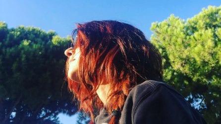 Ambra Angiolini con i capelli rossi