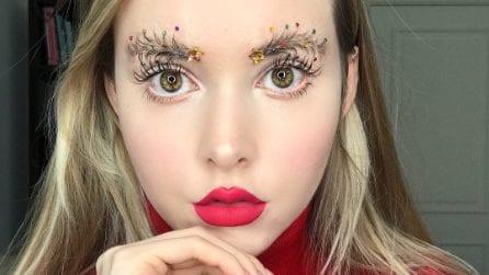 Glitter, gemme e paillettes: l'ultima moda per trasformare le sopracciglia per Natale