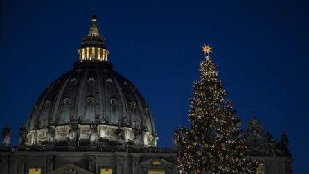 Lo spettacolo di albero e presepe: Piazza San Pietro si illumina