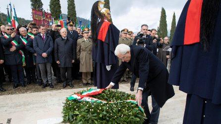 Sergio Mattarella alla cerimonia per il 75° anniversario della battaglia di Monte Lungo