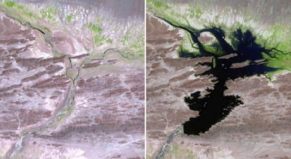 Il fiume Dasht-e Lut, in Iran, prima e dopo la costruzione della diga Mirani. 1999 - 2011