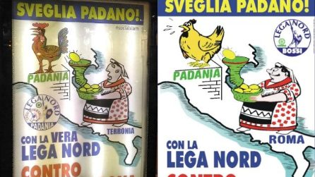 Apparsi manifesti leghisti a Napoli, ma Alberto da Giussano è vestito da Pulcinella