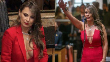 """Una scollatura """"vertiginosa"""": ecco come si è presentata in aula la deputata brasiliana"""