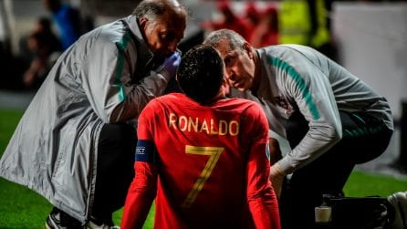 Cristiano Ronaldo, infortunio muscolare durante Portogallo-Serbia