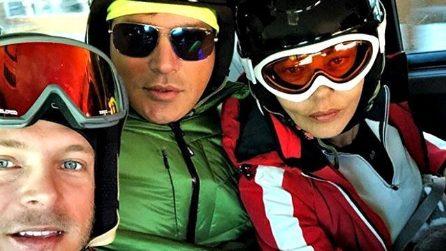 Gabriel Garko con la Grimaldi e Gabriele Rossi sulla neve