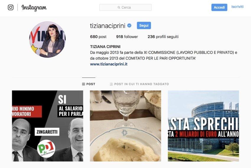 Il profilo Instagram della deputata M5s