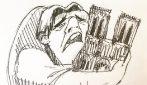 Incendio di Notre Dame, rappresenta così il lutto dei francesi: l'illustrazione è struggente