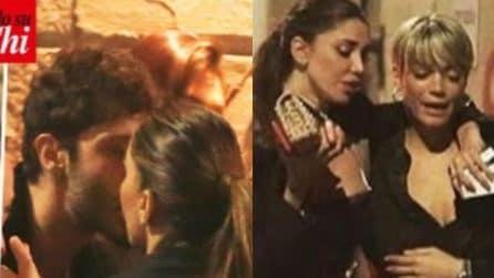 Baci tra Belen Rodriguez e Stefano De Martino, con loro c'è anche Elodie