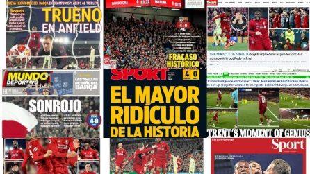 Fracaso Barça, i titoli dei giornali sulla disfatta a Liverpool