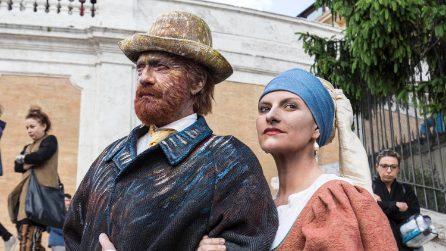 """Biagio Antonacci e Laura Pausini in versione Van Gogh e """"Ragazza con l'orecchino di perla"""""""