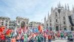 """Milano, in piazza 30 mila metalmeccanici con Fim, Fiom e Uilm: """"Il governo ascolti la nostra voce"""""""