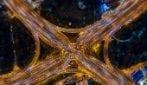 La vista dall'alto del traffico di Shanghai
