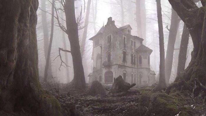 Un'immagine da brividi che arriva da un bosco in Russia: come quelle case che si vedono nei film horror