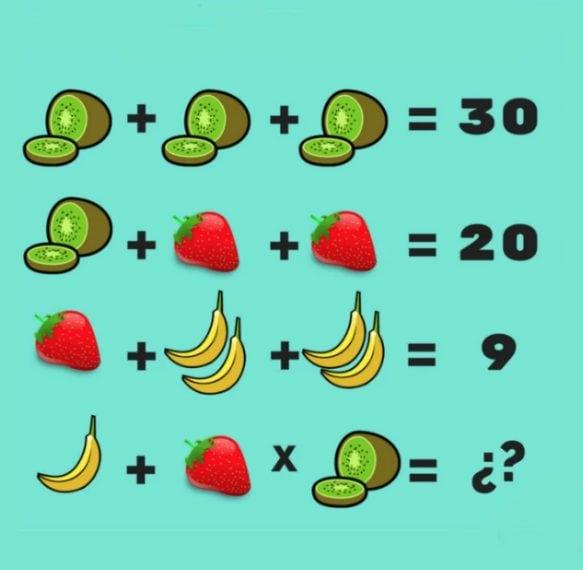 Kiwi=10 Fragole=5 Banane=2 Nell'ultima operazione, però, c'è solo una banana e dando la precedenza alla moltiplicazione, il risultato finale è 51.