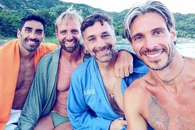 Filippo Magnini, Massimiliano Rosolino, Raoul Bova ed Emiliano Brembilla