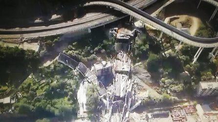 Demolizione Ponte Morandi, le immagini dal drone