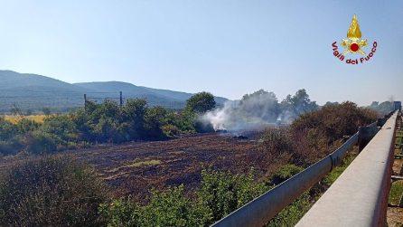 Incendio in provincia di Grosseto, le foto delle fiamme e il traffico sull'Aurelia