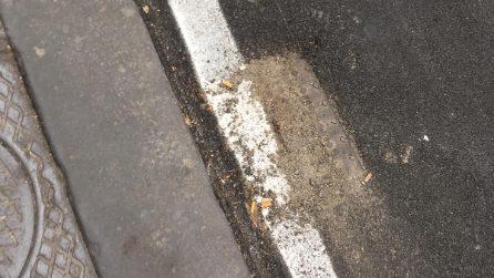 Via Imbriani, lavori sbagliati, asfaltati anche i tombini: rischio allagamenti