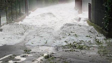 Maltempo in Lombardia, grandine a Magreglio: strade come fiumi di ghiaccio